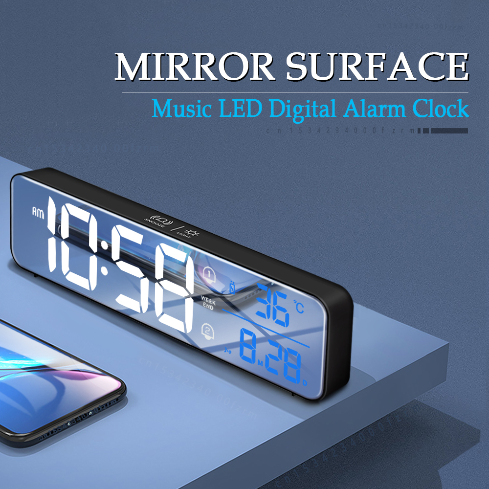 Музыка светодиодный цифровые часы-будильник Температура Дата Дисплей настольное зеркало часы домашний Украшение стола электронные часы ...