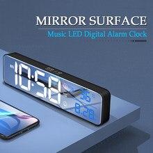 Muzyka cyfrowy budzik LED zegar temperatury wyświetlanie daty lusterko biurkowe zegary dekoracje na stół zegar elektroniczny 2000 mAh