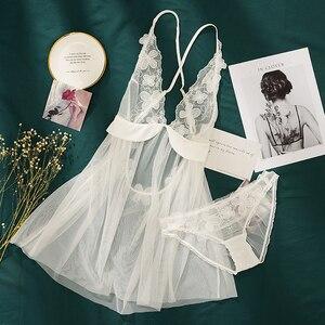 Image 5 - 妖精セクシーな視点レースディープ V 刺繍花睡眠ガウン下着超薄型誘惑ショートドレス
