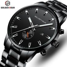 יוקרה למעלה מותג GOLDENHOUR גברים של שעון עסקים עמיד למים יד שעונים אופנה קוורץ גברים שעון זכר שעון Relogio Masculino