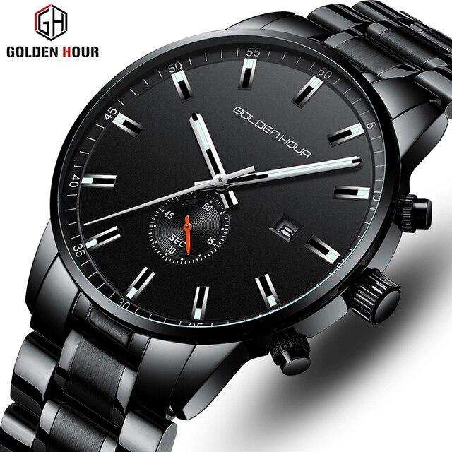 Часы наручные GOLDENHOUR Мужские кварцевые, роскошные брендовые деловые водонепроницаемые Модные
