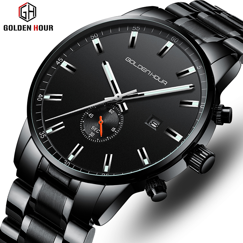 Top Luxury Brand GOLDENHOUR Men's Watch Business Waterproof Wrist Watches Fashion Quartz Men Watch Male Clock Relogio Masculino