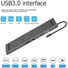 10 в 1 мульти USB C концентратор к HDMI VGA USB 3,0 RJ45 3,5 мм аудио адаптер для MacBook type C концентратор для samsung S8 huawei mate 10
