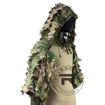 ROCOTACTICAL Tactical Ghillie Suit Breathable Ghillie Viper Hood with 3D Leafy Stripes Sniper Coat for Wargame, Hunting, CS 3