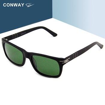 CONWAY Rettangolare occhiali da sole per Gli Uomini Bold Nerd occhiali da sole Flessibile Arms di Lusso di Disegno di Marca di Tende da sole Nero occhiali da sole