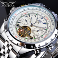 Jaragar Silber Weiß Tourbillon Männlichen Mechanische Uhr Automatische Großen Analog Luminous Hände Kalender Edelstahl Band Uhren