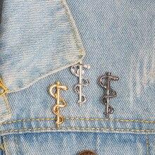 Золотая Серебряная лого палка для ловли Змей Брошь на булавке мини кофейная ложка нагрудная булавка джинсовая куртка рубашка значок для медицинского здоровья ювелирные изделия