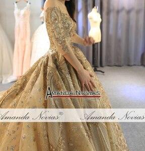 Image 5 - Amanda Novias 2020 kolekcja ciężki frezowanie praca złota suknia ślubna 100% rzeczywiste zdjęcia
