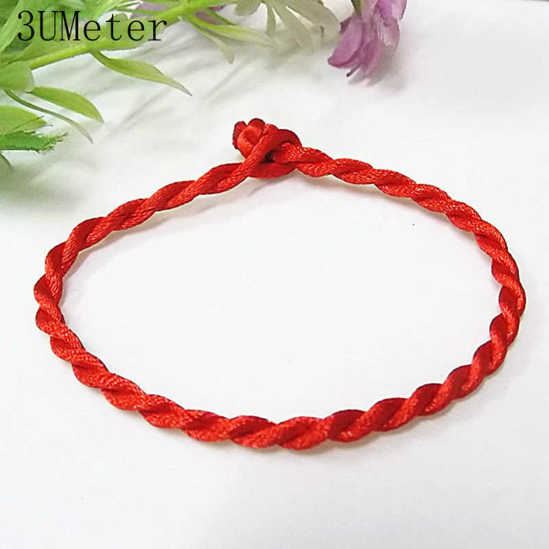 3UMeter ขายร้อน 1PC สีแดงเกลียวสร้อยข้อมือ Lucky สีแดงสีเขียว Handmade Rope สร้อยข้อมือผู้หญิงผู้ชายเครื่องประดับ lover คู่