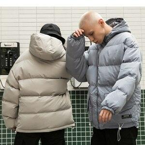 Image 5 - 2019 kış kapüşonlu ceket Parka Streetwear Hip Hop erkekler siper rüzgarlık boy Harajuku kapitone ceket ceket sıcak dış giyim yeni