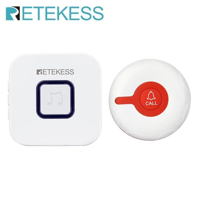 Retekess Wireless Calling System ฉุกเฉิน Pager Wireless Doorbell Receiver และปุ่มกันน้ำสำหรับผู้สูงอายุผู้ป่วยพยาบาล