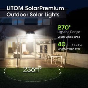 Image 5 - 4 حزمة 40 LED أضواء الشمسية LITOM CD182 جهاز استشعار حركة للأماكن الخارجية لوحة طاقة شمسية عالية الكفاءة مصباح IP66 لوز الشمسية Led الفقرة الخارجية