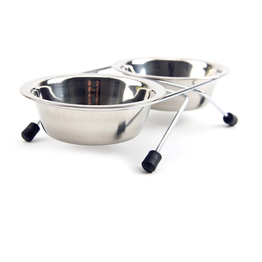 Fashion Dog Bowl Stainless Steel Pet Dog Cat Double Bowls Iron Stand Food Water Dishes Feeder Pet Supplies
