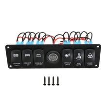 12V 24V 6 Gang LED Rocker Switch Panel Waterproof for Truck Boat Car Switch Panel Lighter Socket Circuit Breaker Switch Panel