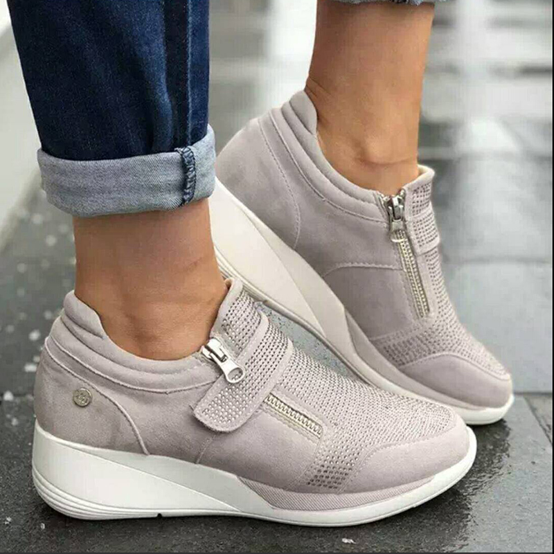 New Shoes Woman Sneakers Gray Zipper Platform Trainers Women Shoes Casual Lace-Up Tenis Feminino Zapatos Mujer Womens Sneakers