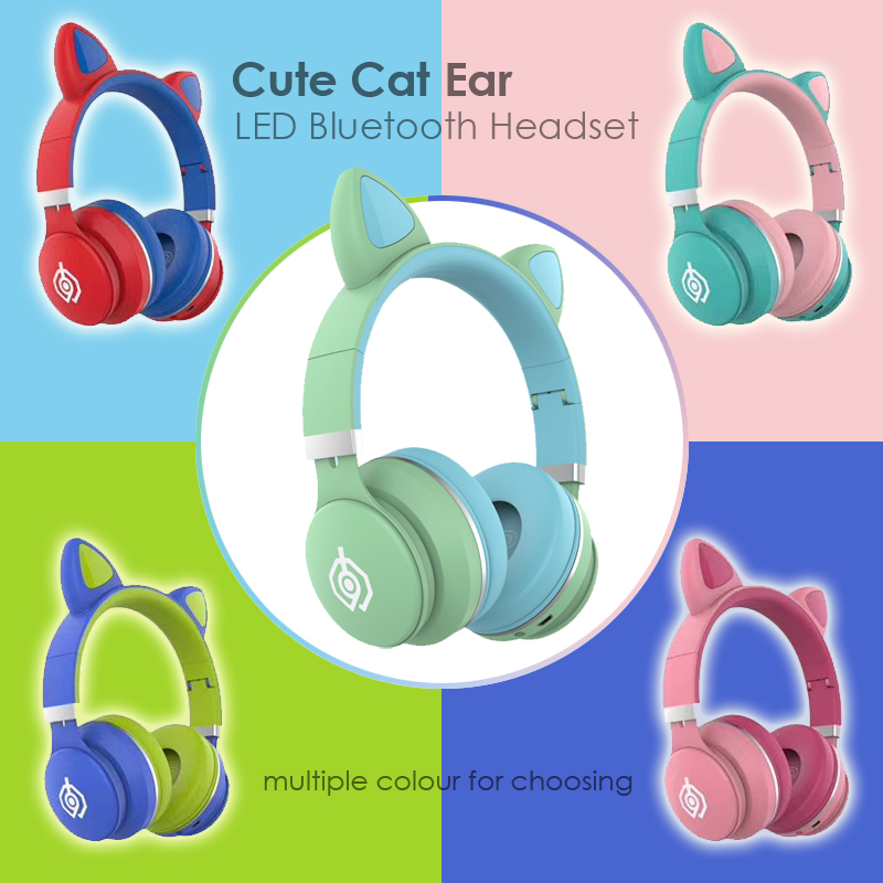 Glowing Cat Ear Headset Wireless Bluetooth Kids Headphones Cute Earphones for Daughters Girls Gifts with Mic Support TF Card