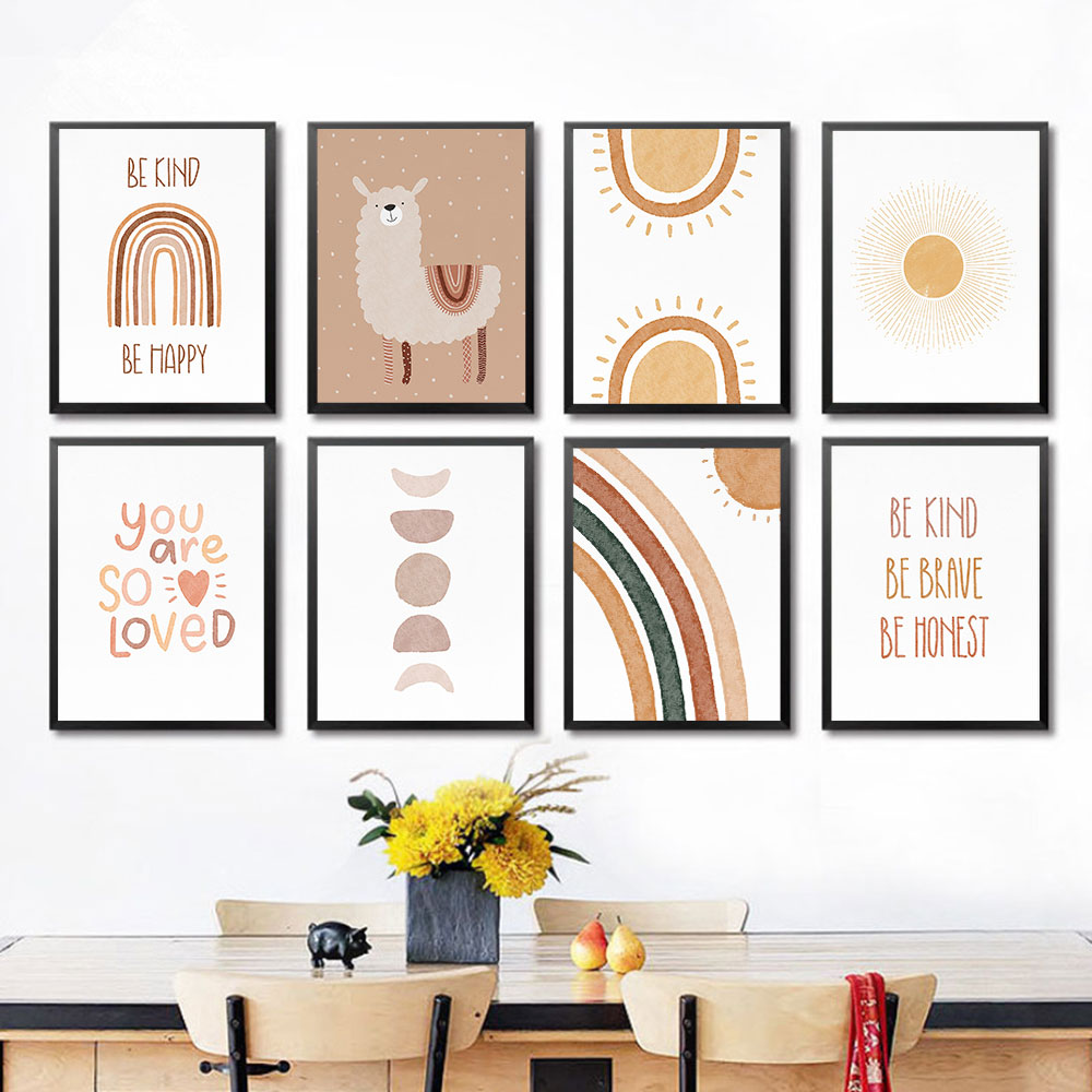 Rainbow Nursery Decor Boho Sunshine Wall Art Print Nordic Canvas Painting Cartoon Posters Wall Pictures for Kids Room Decoration