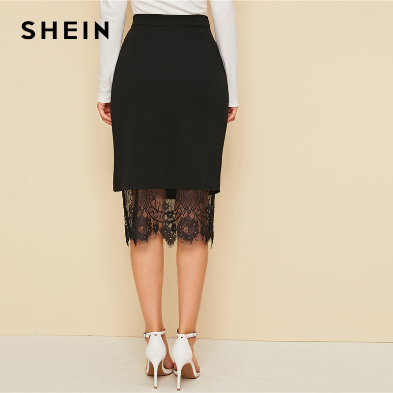 SHEIN Black Eyelash Lace Trim Button Side Pencil Skirt Women 2019 Autumn High Waist Contrast Lace Sheer Elegant Midi Skirts 2