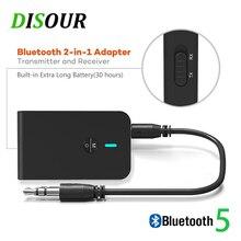 DISOUR Bluetooth 5.0 alıcı verici 2 IN 1 3.5mm AUX Jack müzik Stereo Bluetooth Dongle kablosuz adaptörü için araba kiti TV PC