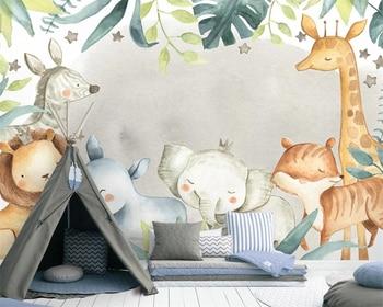 beibehang papel de parede Custom Nordic modern minimalist animal elephant lion childrens room background wallpaper papier peint