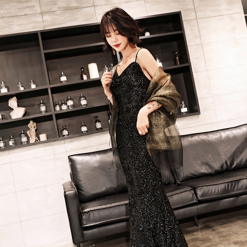 Banquet Evening Dress Women's 2019 New Style Network Red Black Banquet Nobility Sexy Slimming Elegant Autumn And Winter Fishtail
