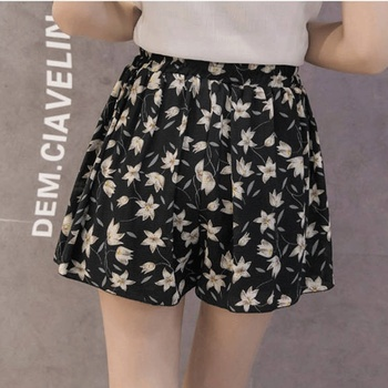 Shorts Women Fashion Large Size Casual Loose Printing Chiffon Summer Solid Lady Mesh