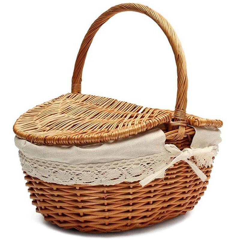 Ручная плетеная корзина с ручкой плетеная корзина для пикника с двойной крышкой корзина для хранения с тканевой подкладкой