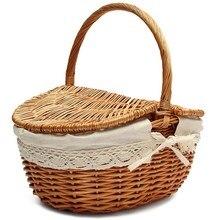 Cesta de vime artesanal com alça de vime acampamento cesta de piquenique com tampas duplas cesta de armazenamento com forro de pano