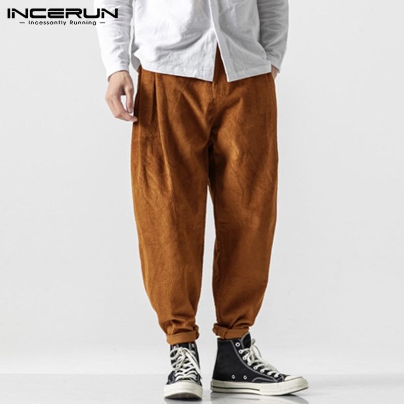 INCERUN Autumn Fashion Men Solid Color Harem Pants Casual Joker Baggy Wide Leg Trousers Joggers Street Mens Corduroy Sweatpants