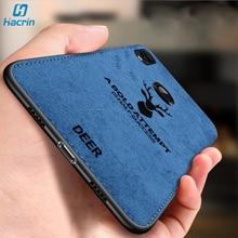 Hacrin Case For Xiaomi Redmi 7 7a Soft TPU Fabric Cloth Leather Texture Back Cover Note Phone Funda