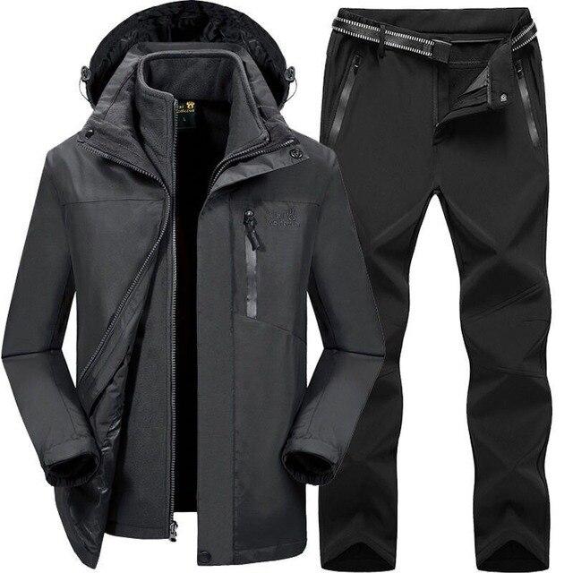 2019 Men Women Winter Autumn Detachable Hike Fish Camp Trekking Ski Climb Jackets Suit Fleece waterproof Pants Belt Trousers 2
