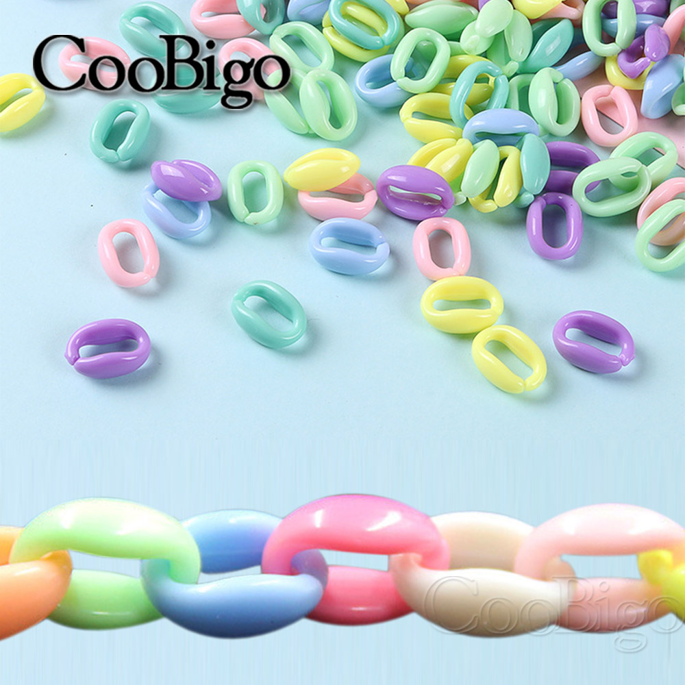 200pcs Colorful Acrylic Plastic Chain Links Loose Beads Open Buckles for DIY Earring & Necklace Charm Jewelry Accessories(China)