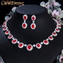 Cwwzircons cor ouro branco vermelho e verde cz cristal colar de noiva brincos jóias de casamento de luxo conjuntos de jóias t160