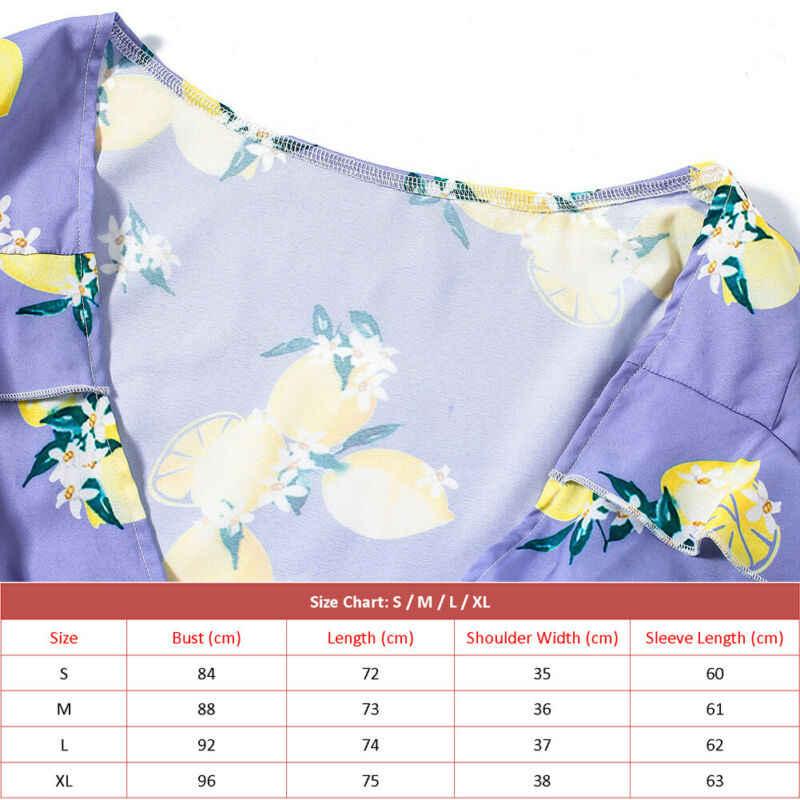 Artı boyutu S-XL bayan Boho tatil Mini Playsuit uzun kollu Ruffles derin V boyun Bodysuit yaz plaj tulum