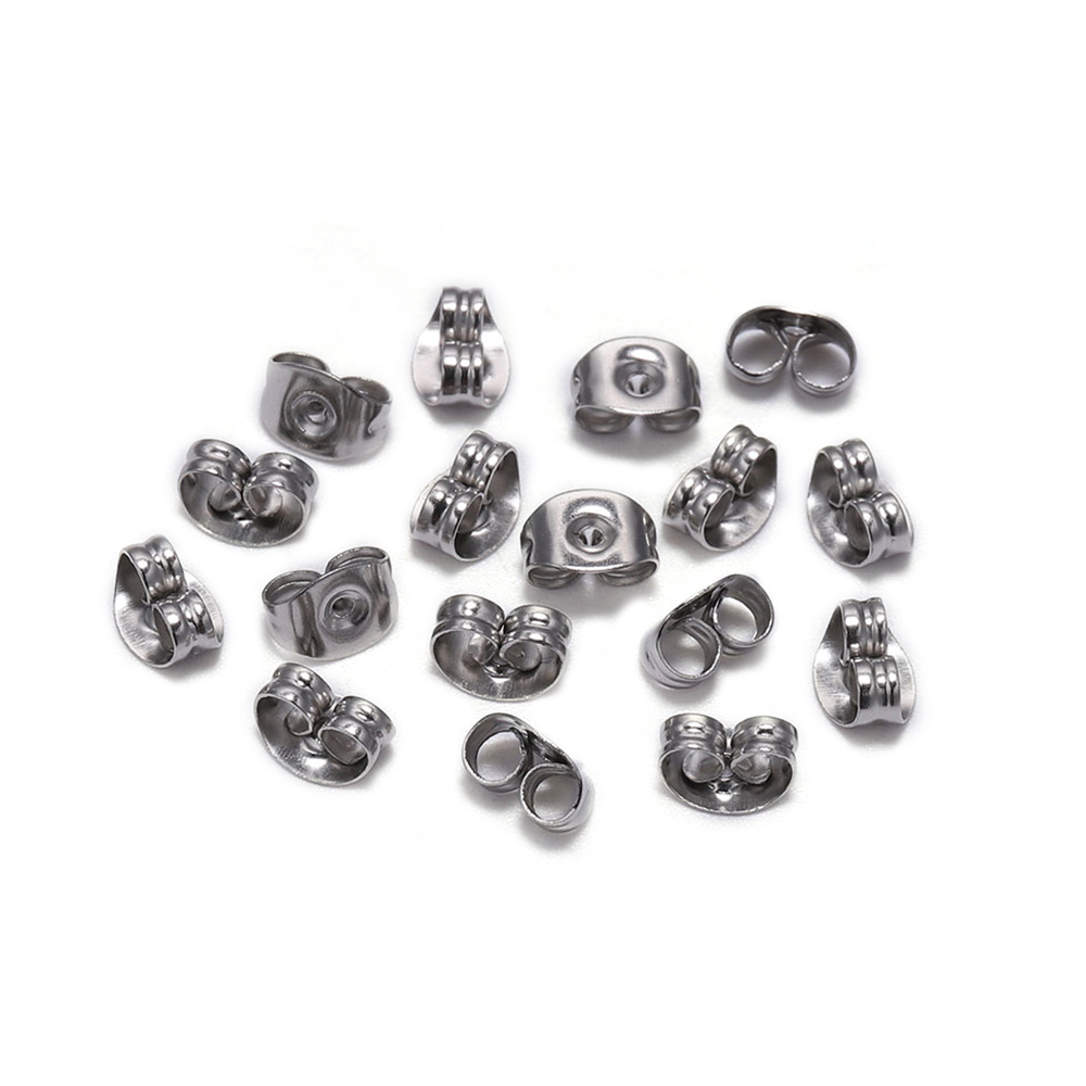 100pcs 4 5 6 8mm Stainless Steel Earring Back Plug Earring Settings Base Ear Studs Back Earring Stopper For DIY Jewelry Making