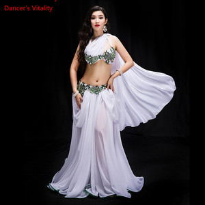 Image 2 - חדש נשים ריקוד תחרות תלבושות 3 חתיכה סט ריקוד מזרחי ביצועים להראות ללבוש בלינג בלינג מקסימום חיצוני פנל אדום לבן