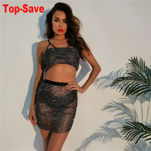 Casual Fashion Sparkly Rhinestone 2 Two Piece Outfits Women Black Strapless Top And Mini Skirt Sets Backless Sexy Matching Set(China)