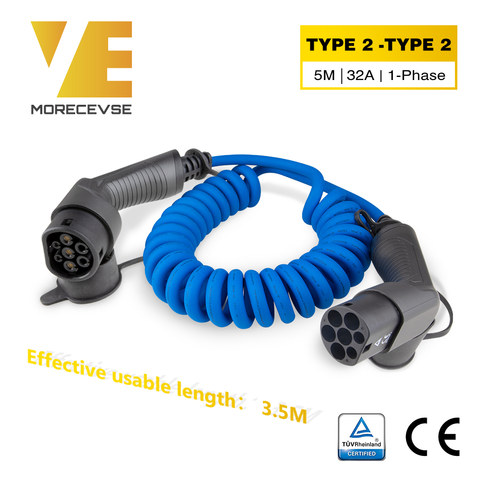 Morec IEC 62196-2 EV Charging Coiled Cable For Stations Electric Car Spiral Cord Charger Type 2 To Type 2 32A 7.2KW 5m Bule