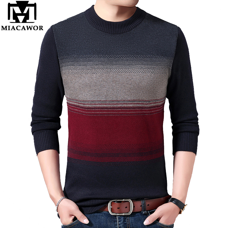 MIACAWOR Wool Sweater Men Patchwork Knitted Pullover Men Autumn Winter Warm Sweaters O-Neck Pull Homme  Brand Clothes Y174