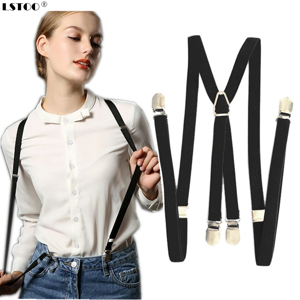 4 Clips On 1.5 Cm Wide Men Suspenders Women Elastic Adjustable Adult Braces Suspender Kids Children Boys Girls Accessories