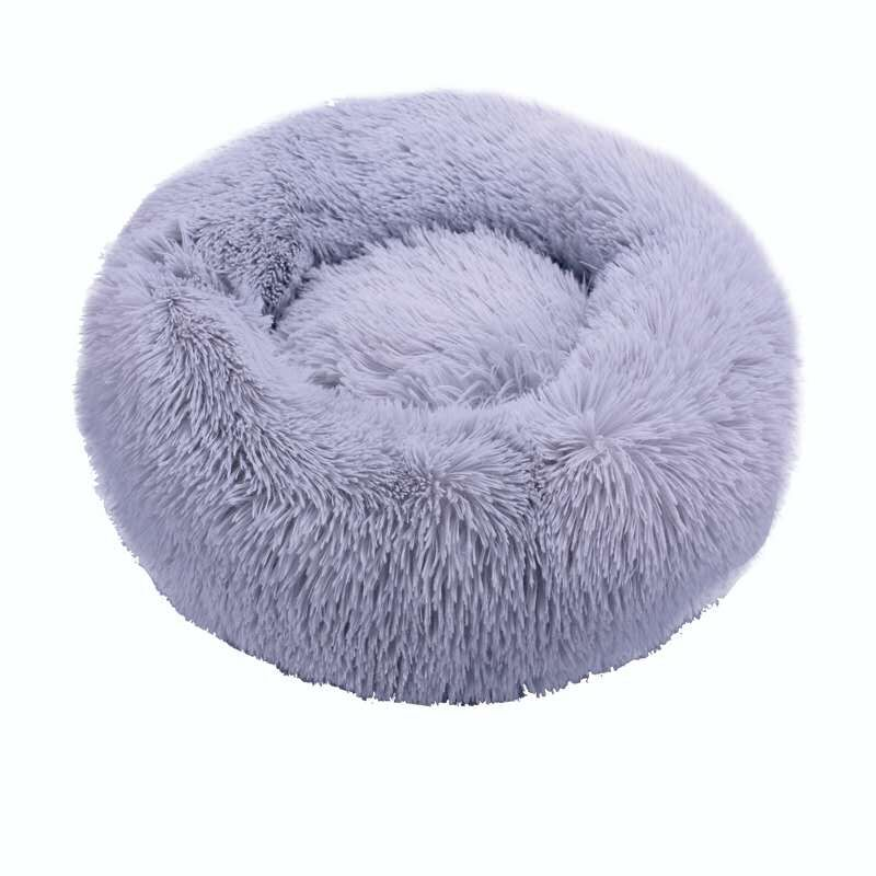 Light grey-Round Cat Beds House Soft Long Plush Best Pet Dog Bed For Dogs Basket Pet