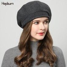 Hepburn brand Outdoor Fall Winter warm Skullies Beanie Knitted Hat Cotton Wool Bonnet For Women Soft 2019 Hot octagonal hats