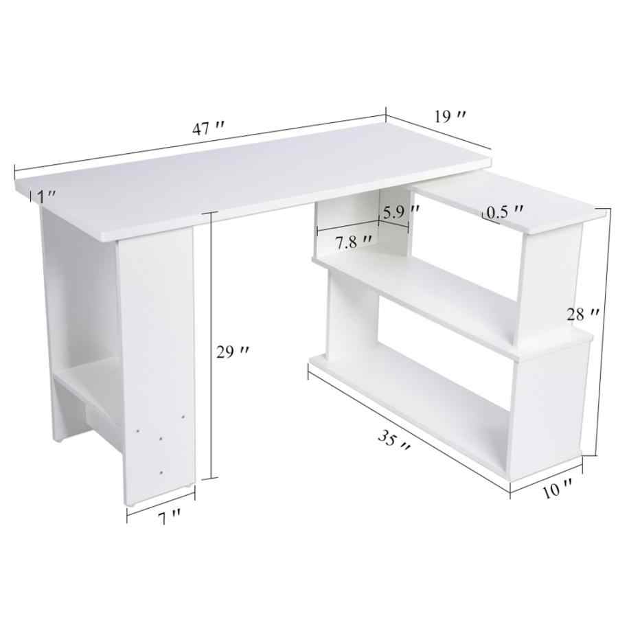Corner Computer Desk Folding L-Shape PC Laptop Table for Home Office Study  Writing White