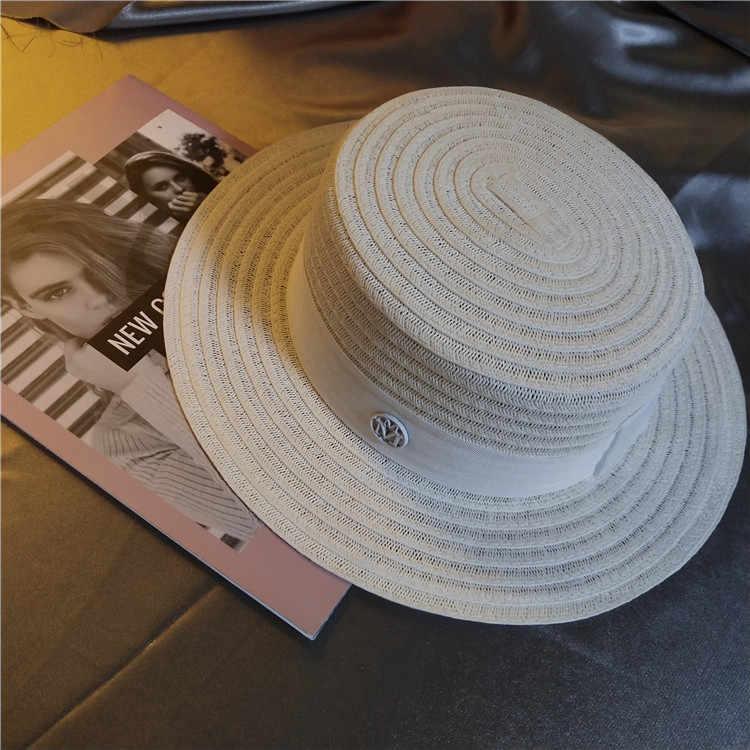 Zld Musim Panas Topi Jerami Wanita Putih Kecil Aroma Flat Top Hat Sun Visor Mode Tepi Laut Pantai Holiday Topi Net Merah
