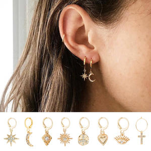Luokey Star Moon Small Hoop Earrings For Women Gold Heart Cross Huggie Earrings Delicate Rhinestone Pendientes Jewelry Wholesale