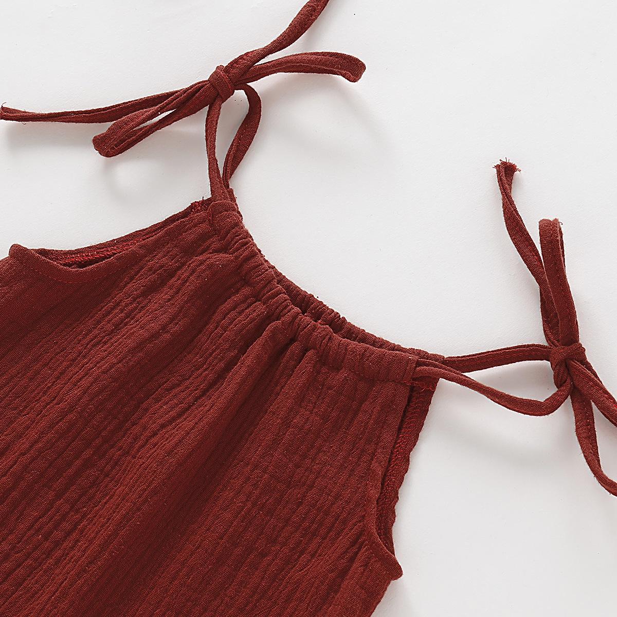 Summer Toddler Girl Dress Cotton Linen Kids Dresses for Girls Ruffles Children Slip Dress Fashion Girls Clothing