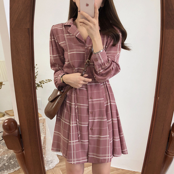 pink Plaid New Autumn Spring A Line Office Lady Dress Women Turn down collar Long Sleeve grid Casual Dresses Robe Femme Vestido contrast collar and cuff grid dress