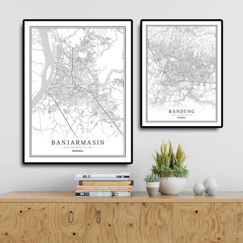 Indonesia Black and White City Map Poster Nordic Living Room Jakarta  Bandung Wall Art Home Decor Canvas Painting Creative gift