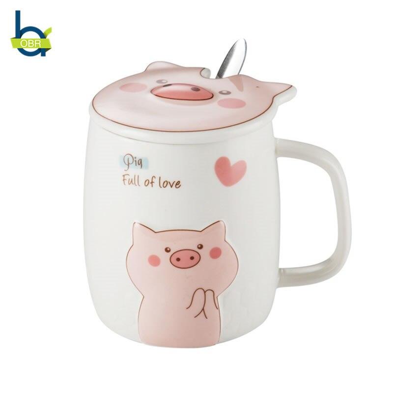 OBR 500ml Creative Ceramic Mug Pig Shape Coffee Mug With Lid And Spoon Tumbler Cartoon Cute Animal Drinking Tea Mug Friends Gift