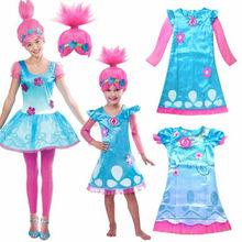 Girls Dresses Trolls Poppy Costume Kids Dress